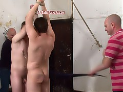 Buddies strung up by their wrists, made to kiss and press their naked bodies together, nipples clamped, arses flogged, foreskins and testicles pegged, dick flogged till all the pegs are removed, head tied to his friend's arse so he has to lick out his hole, anal hook, arsecrack filled with urine while he's rimming.