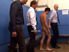 The dominant clothed teachers decide it's in student athlete Dennis' best interests if they give him a prostate exam. Whilst he dreads having the older men insert their fingers into his anus, the inexperienced young lad is in no position to refuse. He tries to ignore the burning pain as they greedily explore his tight virgin hole.
