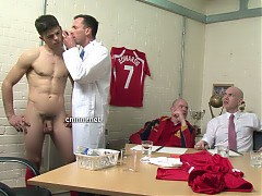 Star footballer Jack must stand fully naked in front of the club's directors while they survey his body and genitals. They openly discuss how his cock compares to his teammates and how heavy his testicles are. Standing so objectified and hyper-aware of his body, Jack's dick responds and he grows an erection. It's fascinating how this sporty stud's cock twitches when his arsehole is stimulated. They find it's best to get an expert in to give him a full and very thorough medical.