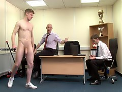 Derek must go from gentleman to gentleman exposing his body for their perusal. Even while the buff coach is stark naked and presenting his asshole for inspection, business still continues between the suited men. Derek wants to ensure he seals the deal so invites them to feel inside his taut anus. He's willing to be used in any way they wish in order to get the job.