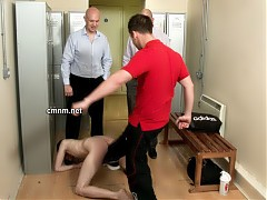 The lads all crowd around stark naked David mocking him as a pervert because Mark has seen online how he's a kinky fag. They ruthlessly bully him spanking his arse till it's burning red and kick his nuts. The locker room is thick with a feverish manly energy as they take advantage and humiliate David till he's weeping and desperate to cover his vulnerable naked body.