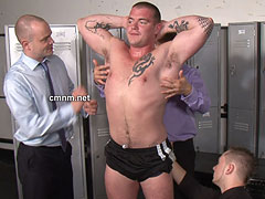 Total control of big muscular stud body and taught this dumb straight fuck how to submit naked to a group of true professionals in gym locker room