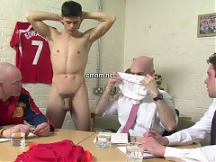 The only way the bosses can justify loaning out star footballer Jack is if there is some weak spot to take him out of the line up. Everyone has built up a real affection for Jack so they want to be very thorough in their inspections. He's stripped down completely in the board room. Dave takes the initiative testing his muscular arms and stomach. They slide off his tight white pants to reveal his big thick daddy-maker. If they need to let this player go they are going to savour every moment with his perfect body.
