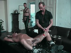 Pumped slave's body is flogged by his masters