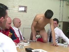The doctor has measured footballer Jack's penis, but for a thorough scale of how he compares to the others on the football team it's necessary for him to be fully erect. During their routine inspections the directors have noticed how hairy Jack's ass crack is so they make the sporty star crawl naked around the table baring his anus to each man. With a financial deal this major the directors don't want to just take the doctor's word for it. They get in there to be thoroughly familiar with his body.