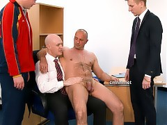 After many years of living under the authoritative tutelage of his domineering uncle, bright young football star Paolo finally has the upper hand! The Mancastle managers order hot older businessman Dino to strip totally naked or the lucrative deal he's been engineering is totally off. His dick is manipulated till it's straining erect with the excitement of exposing himself so shamelessly before his nephew Paolo. What the jeering managers push them to do next takes on a new level of perversion!